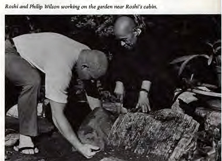 Machine generated alternative text: Roshi and Philip Wilson working on the garden near Roshi's Cabin.