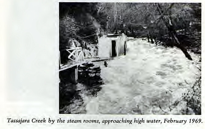 Machine generated alternative text: Tassajara Creek by the steam rooms, approaching high water, February 1969.