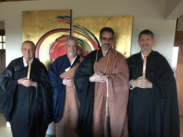 Al Tribe, Lew Richmond, Peter Schireson, Peter Coyote at Al and Peter's transmission ceremony